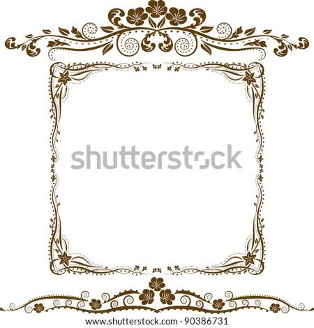 decorative border and ornaments - stock vector