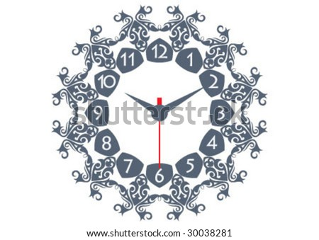 Decorative border and very nice texture design on wall watch - stock vector