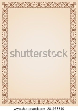 Decorative border frame background certificate template 4 vector - stock vector
