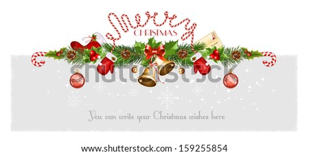 Decorative border from a traditional  Christmas objects. Vector illustration - stock vector