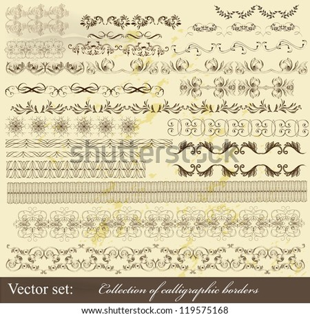 Decorative  borders for design. Calligraphic vector - stock vector