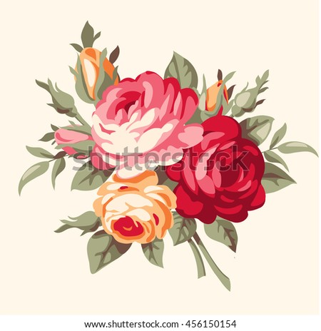 Decorative bouquet of vintage roses. Vector antique flowers - stock vector