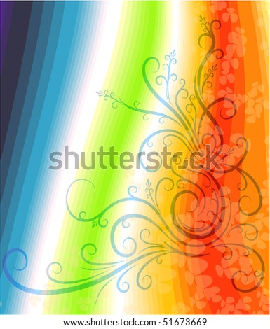 Decorative branch on particoloured background.