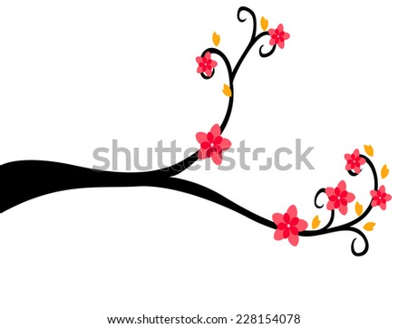 Decorative Branch Tree Silhouette With Red Flower and Yellow Leaf - stock vector