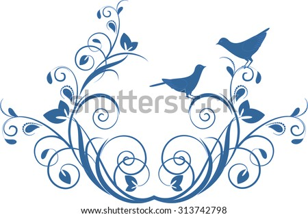 Decorative branch with birds. Element for design in vintage style - stock vector