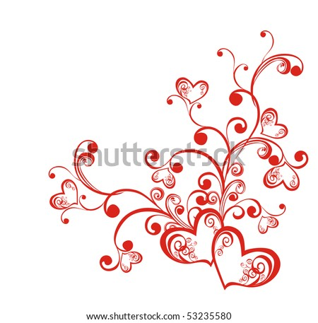 Decorative branch with hearts, element for design, vector - stock vector
