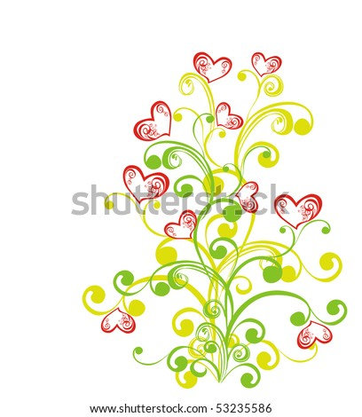 Decorative branch with hearts, element for design, vector