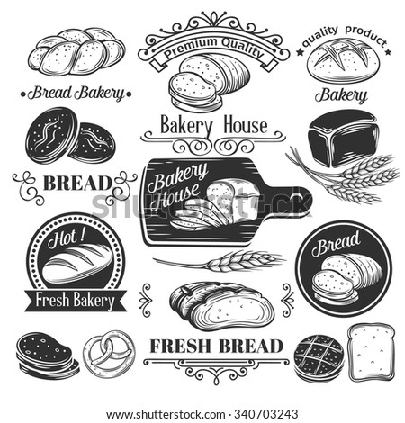 Decorative bread bakery label  and vintage old page design elements. Vector illustration.