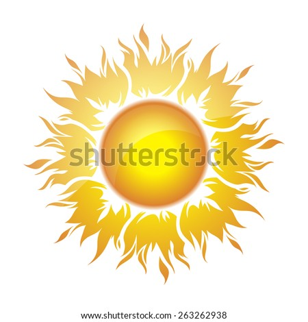 Decorative bright colorful sun symbol  - stock vector