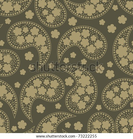 Decorative brown elements and flowers on dark brown background - seamless patter - stock vector