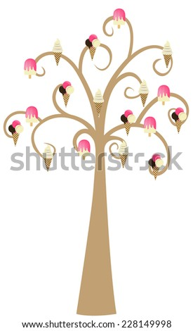 Decorative Brown Tree Silhouette With Ice Cream - stock vector