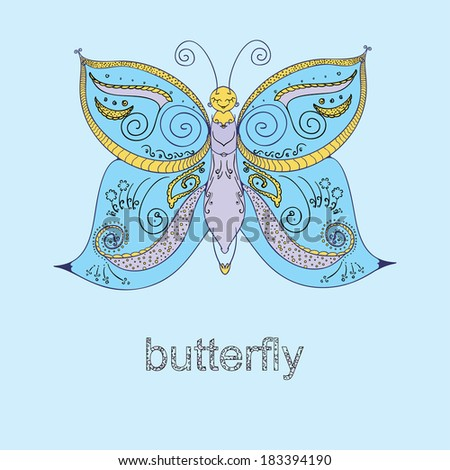 decorative butterfly, children vector illustration - stock vector