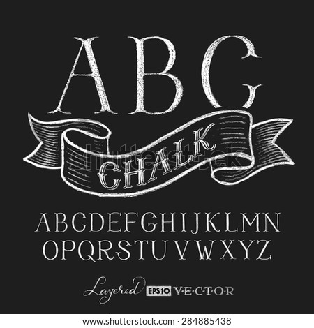 Decorative capital letters hand drawn on a chalkboard. Eps10. Transparency used. RGB. Global colors. Gradients free. Each elements are grouped separately - stock vector