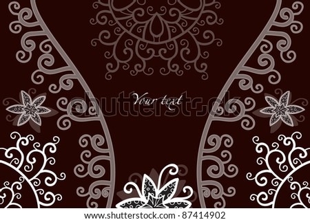 Decorative card background with flowers - stock vector