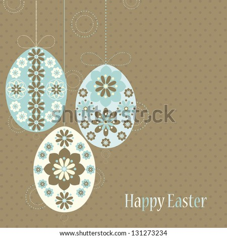 Decorative card with Easter eggs in pastel colors. Vector background with ornamental Easter eggs and place for your text - stock vector