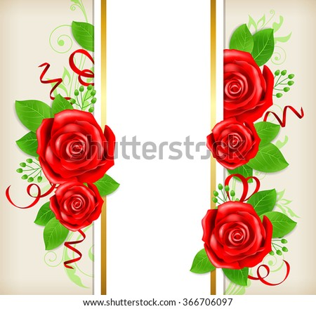 Decorative card with red roses and green leaves. Vector illustration.