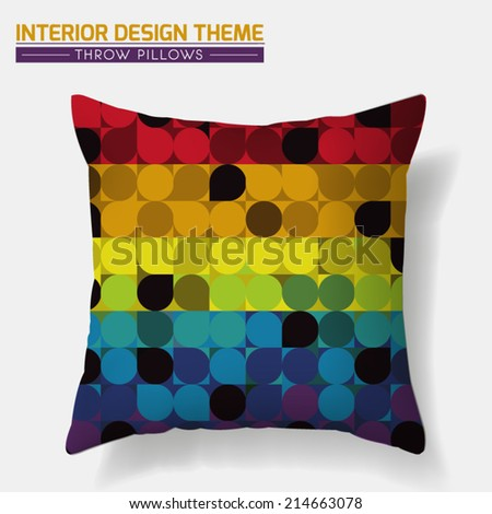 Decorative Cheerful Throw Pillow design template. Original Rainbow Dot pattern is complete, masked. Modern interior design element. Creative Sofa Toss Pillow. Vector design is layered, editable.  - stock vector
