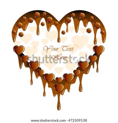 Decorative chocolate frame with room for your text. Imitating chocolate vector illustration with hearts for card, poster, paper, print, label.
