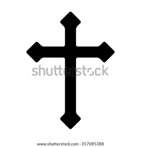 Decorative Christian cross - symbol of Christianity flat icon for apps and websites - stock vector