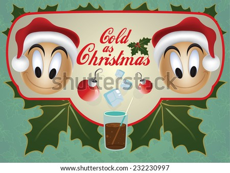 Decorative Christmas design element label with two cute faces