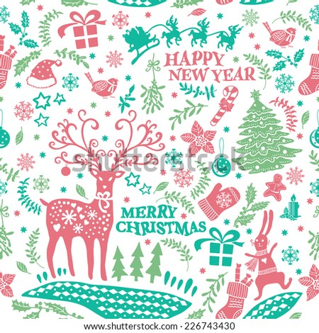 Decorative Christmas Doodle pattern. Hand drawing. Christmas decorations. Seamless pattern for fabric, paper and other printing and web projects. - stock vector