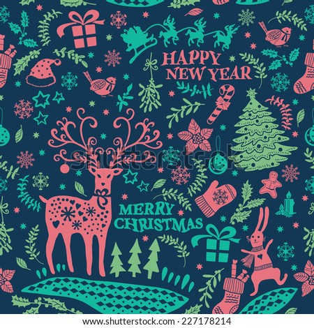 Decorative Christmas Doodle seamless. Hand drawing. Christmas decorations. Seamless pattern for fabric, paper and other printing and web projects. - stock vector