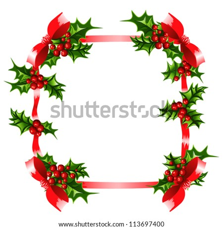 Decorative Christmas frame with holly and bows