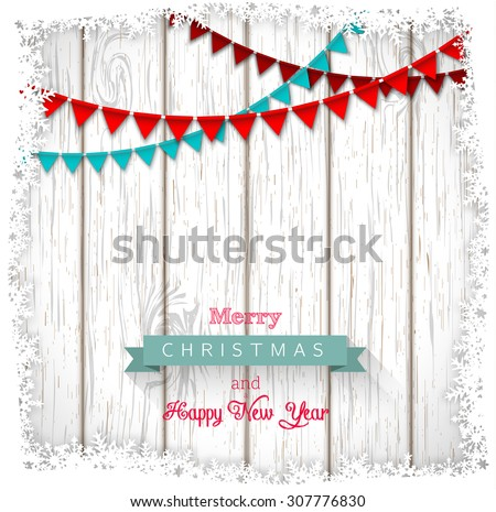 Decorative Christmas greeting text on white wood, vector illustration, eps 10 with transparency and gradient mesh - stock vector