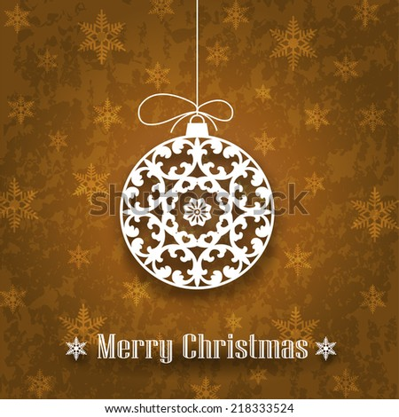 Decorative Christmas Ornament on Grunge Background (EPS10 Vector) - stock vector