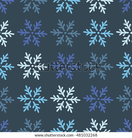 Decorative Christmas seamless background with snowflakes. Print. Repeating background. Cloth design, wallpaper.