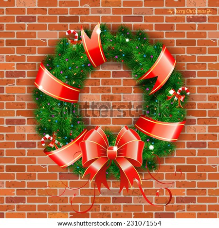 Decorative Christmas Wreath with Ribbon, Candy and Decoration element on Brick Wall background, vector illustration. - stock vector