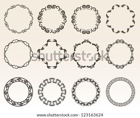 Decorative circle borders vector illustration - stock vector
