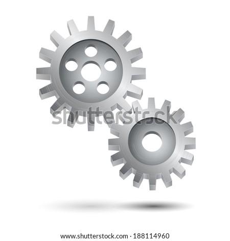 Decorative cog wheel gear mechanism teamwork business concept or engineering symbol print vector illustration - stock vector