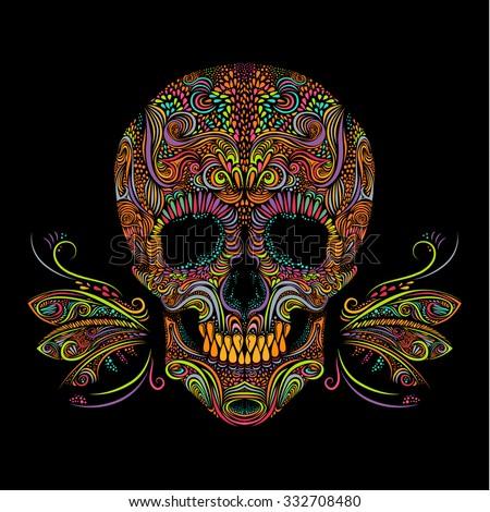 decorative color skull on black background black and white vector illustration