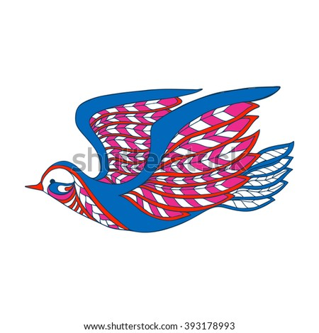 Decorative colored bird in zentangle style, in zendoodle style. This illustration can be used as a greeting card or as a print on T-shirts and bags. Vector illustration.