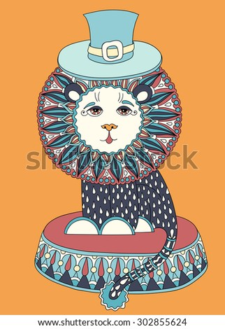 decorative colored line art drawing of circus theme - lion in a hat, vector illustration - stock vector