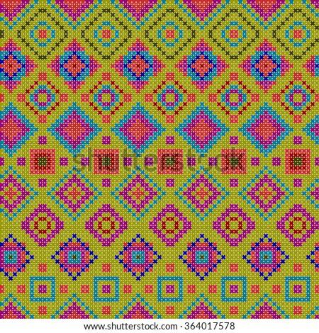decorative colorful ethnic x-stitch seamless pattern - stock vector