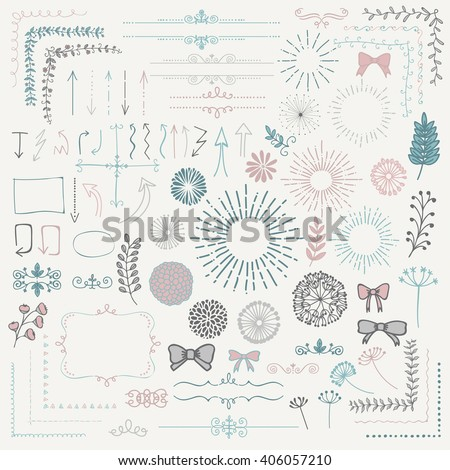 Decorative Colorful Hand Sketched Rustic Floral Doodle Corners, Branches, Frames, Arrows, Dividers, Design Elements. Hand Drawing Vector Illustration.