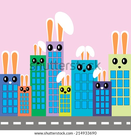 decorative colorful houses, city background, flock of rabbits - stock vector