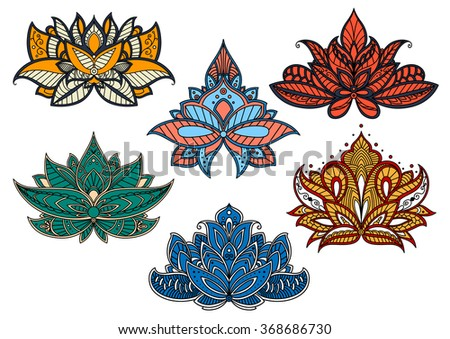 Decorative colorful paisley flowers adorned by floral motifs of persian and indian ornaments and curly lines. Use as oriental pattern for carpet, textile or lace design - stock vector