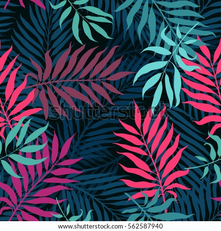 Decorative Colorful Palm Tree Foliage Tropical Leaves Jungle Seamless Vector Floral Pattern