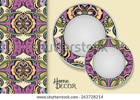 Decorative colorful seamless pattern. Hand drawn ethnic tribal ornament. Vector geometric background. Set of 2 matching decorative plates for interior design. Vector illustration. - stock vector