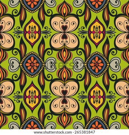 Decorative colorful seamless pattern. Hand drawn ethnic tribal ornament. Vector geometric background