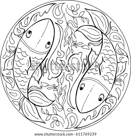 water mandala coloring pages | Decorative Coloring Mandala Japanese Carp Water Stock ...