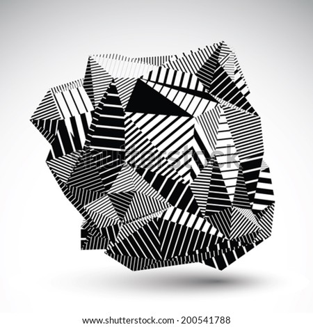 Decorative complicated unusual eps8 figure constructed from triangles with parallel black lines. Striped multifaceted asymmetric contrast element, monochrome illustration for technology projects. - stock vector