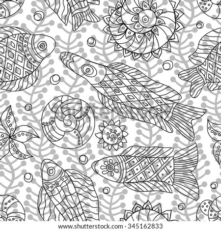 Decorative contour seamless pattern with marine life and contour drawing seaweeds . Textile and wallpaper sea background. Vector illustration