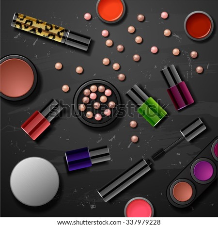 decorative cosmetics make up accessories beauty store - stock vector