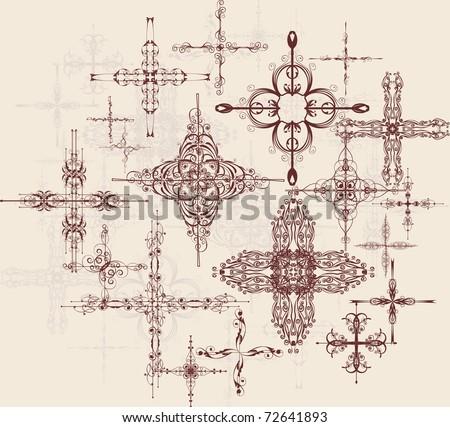 decorative crosses - stock vector