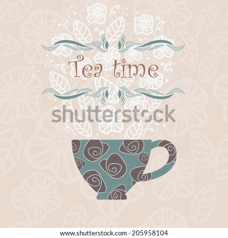 Decorative cup and text