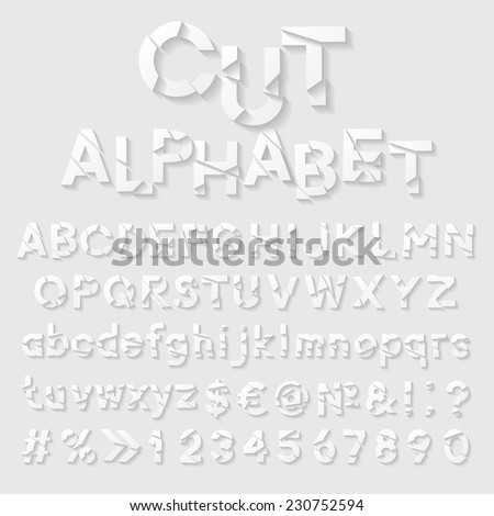 Decorative cut paper alphabet. Vector illustration  - stock vector